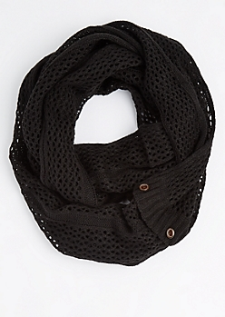 Black Buttoned Openwork Infinity Scarf
