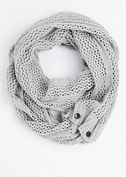 Gray Buttoned Openwork Infinity Scarf