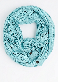 Mint Buttoned Openwork Infinity Scarf