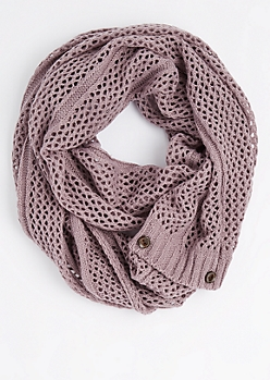 Violet Buttoned Openwork Infinity Scarf