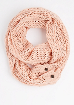 Pink Buttoned Openwork Infinity Scarf