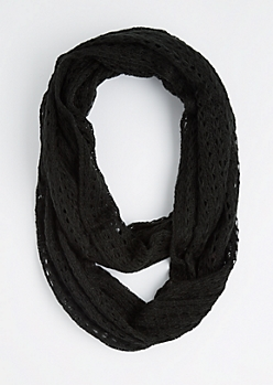 Black Diamond Crochet Infinity Scarf