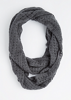Gray Diamond Crochet Infinity Scarf