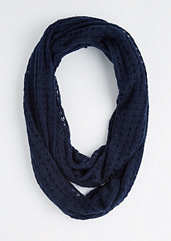 Navy Diamond Crochet Infinity Scarf
