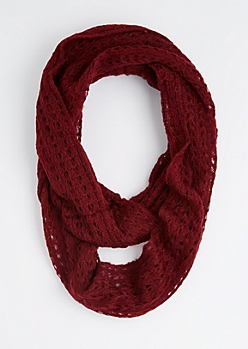 Burgundy Diamond Crochet Infinity Scarf