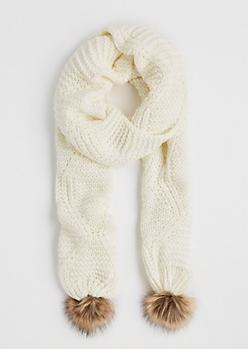 Ivory Pom Pom Knit Scarf