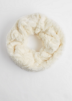 Ivory Embossed Faux Fur Infinity Scarf