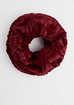 Burgundy Embossed Faux Fur Infinity Scarf