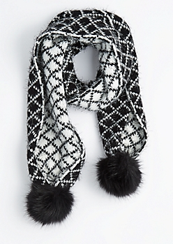 Diamond Eyelash Knit Oblong Scarf