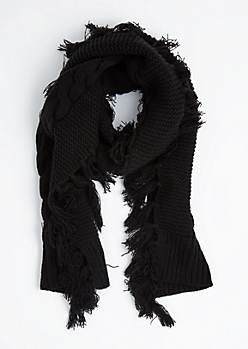 Black Cable Knit Fringed Scarf
