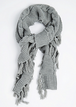 Gray Cable Knit Fringed Scarf