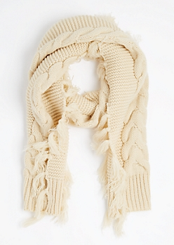 Ivory Cable Knit Fringed Scarf