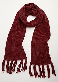 Burgundy Heavy Knit Fringed Scarf