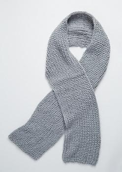 Gray Eyelash Knit Scarf