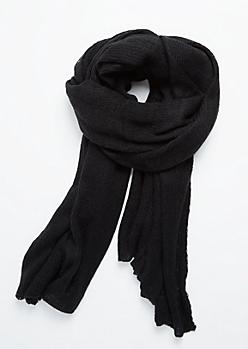 Black Soft Waffle Knit Blanket Scarf