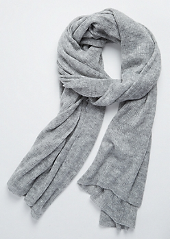 Heather Gray Soft Waffle Knit Blanket Scarf