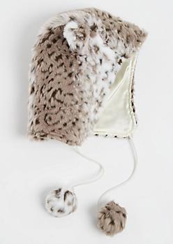 Snow Leopard Faux Fur Trapper Hat