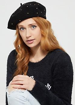 Black Studded Woolen Beret
