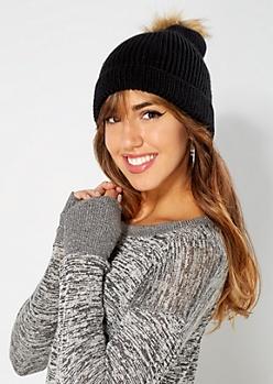 Black Knit Faux Fur Pom Beanie