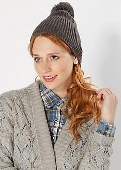 Gray Purled Knit Pom-Pom Beanie