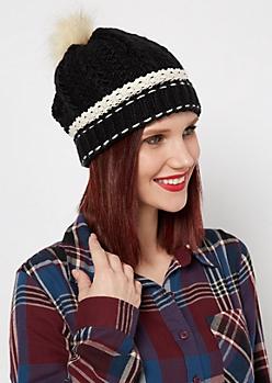 Black Crochet Cuff Fur Pom Beanie