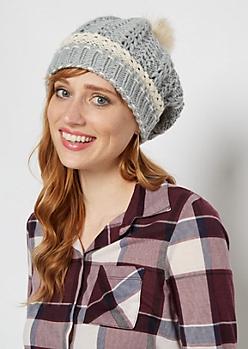Gray Crochet Cuff Fur Pom Beanie