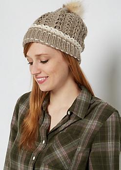 Tan Crochet Cuff Fur Pom Beanie