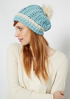 Turquoise Crochet Cuff Fur Pom Beanie