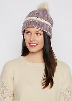 Violet Crochet Cuff Fur Pom Beanie
