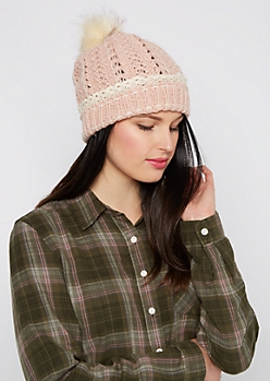 Pink Crochet Cuff Fur Pom Beanie