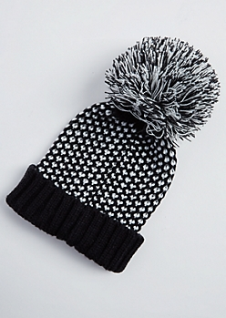 Black Dot Stitched Pom Beanie