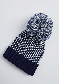 Navy Dot Stitched Pom Beanie
