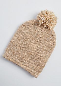 Cream Marled Knit Pom Pom Beanie