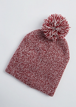 Red Marled Knit Pom Pom Beanie