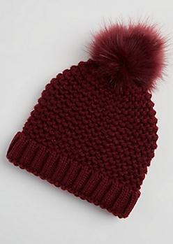 Burgundy Heavy Knit Faux Fur Pom Beanie