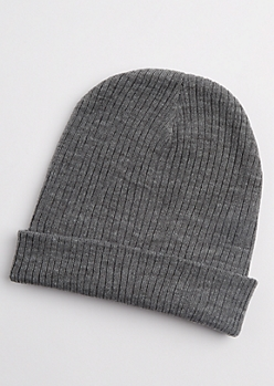 Heather Gray Rib Knit Beanie