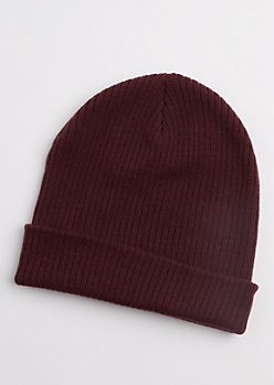 Plum Purple Rib Knit Beanie