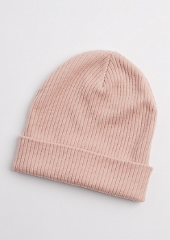 Light Pink Rib Knit Beanie