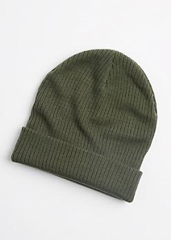 Olive Green Rib Knit Beanie