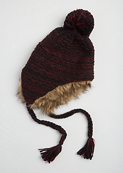 Burgundy Marled Faux Fur Trapper Hat