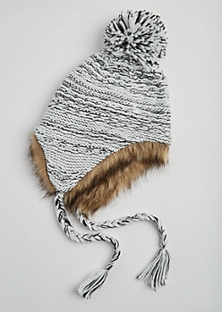White Marled Faux Fur Trapper Hat