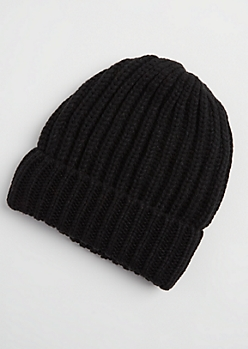 Black Heavy Knit Beanie