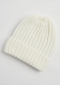 Cream Heavy Knit Beanie