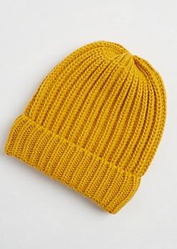 Mustard Heavy Knit Beanie