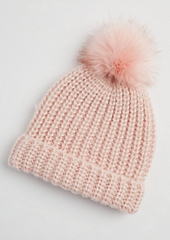 Light Pink Faux Fur Pom Beanie