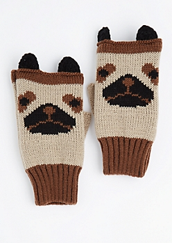 Pug Fingerless Gloves