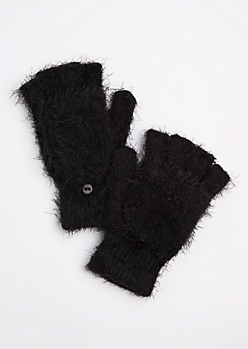 Black Eyelash Convertible Gloves