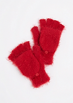 Red Eyelash Convertible  Gloves