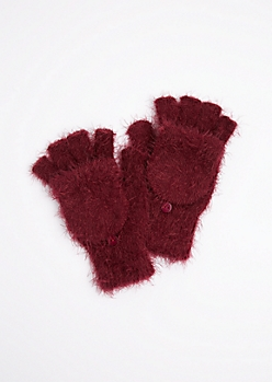 Burgundy Eyelash Convertible  Gloves