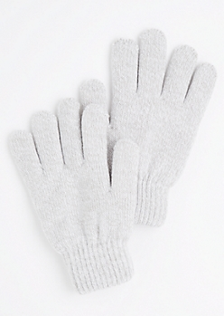 Grey Marled Knit Gloves